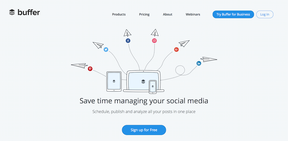 Buffer schedule your posts at the right time on all your social networks
